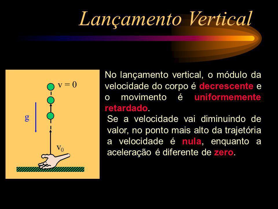 Lançamento Vertical No lançamento vertical, o módulo da velocidade do corpo é decrescente e o movimento é uniformemente retardado.