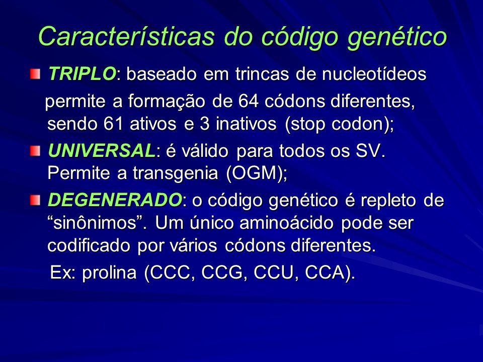 Características do código genético