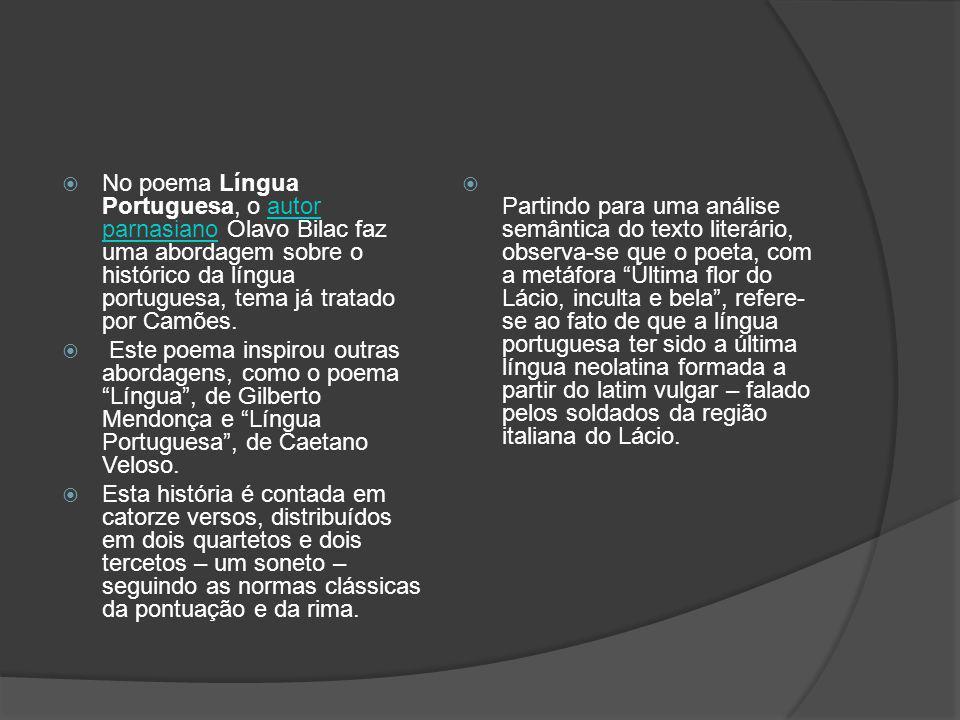 No poema Língua Portuguesa, o autor parnasiano Olavo Bilac faz uma abordagem sobre o histórico da língua portuguesa, tema já tratado por Camões.
