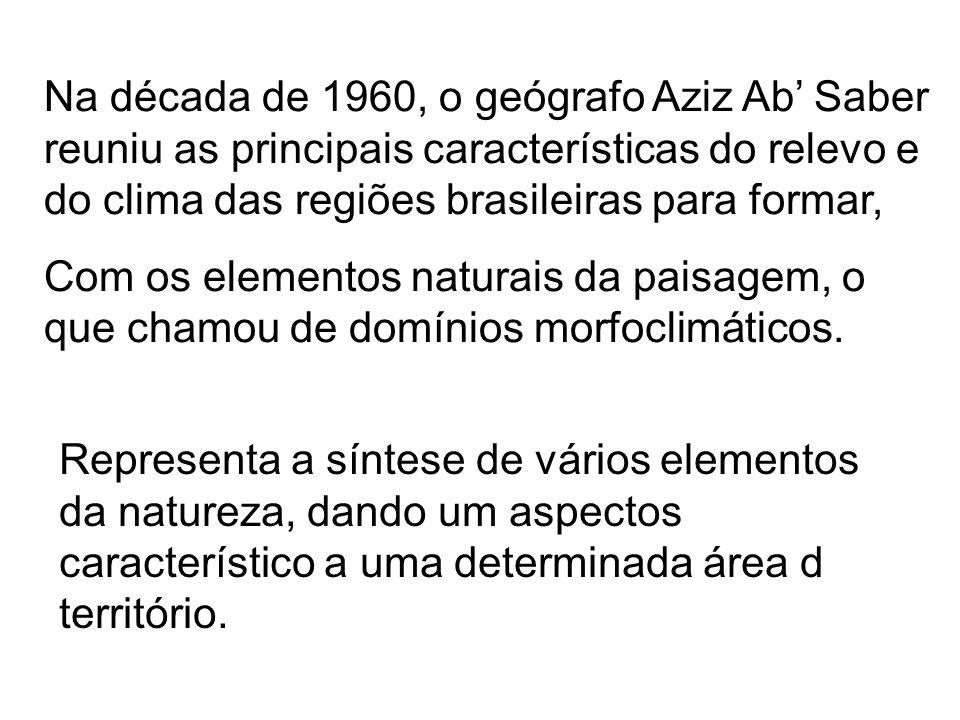 Na década de 1960, o geógrafo Aziz Ab' Saber reuniu as principais características do relevo e do clima das regiões brasileiras para formar,