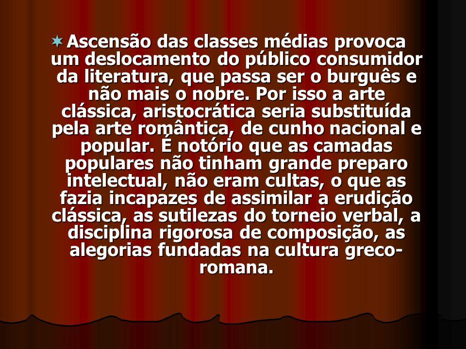 Ascensão das classes médias provoca um deslocamento do público consumidor da literatura, que passa ser o burguês e não mais o nobre.