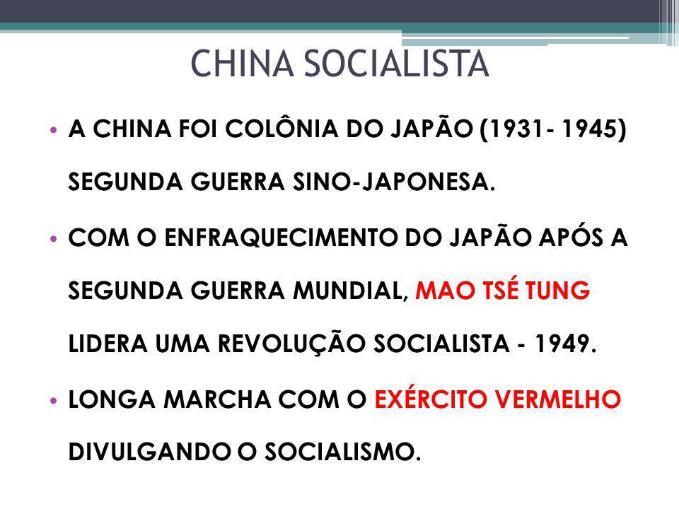 CHINA SOCIALISTA A CHINA FOI COLÔNIA DO JAPÃO (1931- 1945) SEGUNDA GUERRA SINO-JAPONESA.