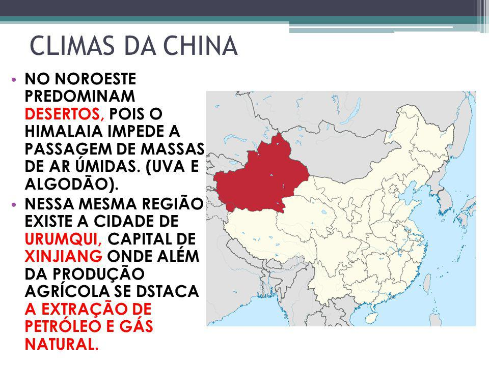 CLIMAS DA CHINA NO NOROESTE PREDOMINAM DESERTOS, POIS O HIMALAIA IMPEDE A PASSAGEM DE MASSAS DE AR ÚMIDAS. (UVA E ALGODÃO).