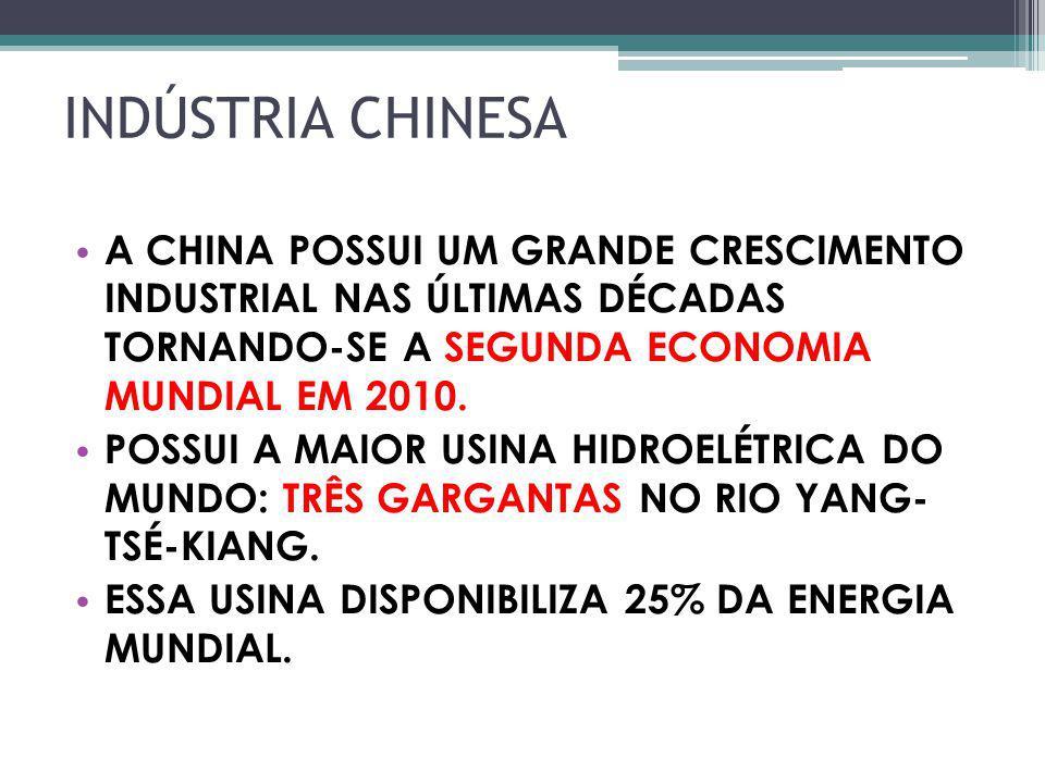 INDÚSTRIA CHINESA A CHINA POSSUI UM GRANDE CRESCIMENTO INDUSTRIAL NAS ÚLTIMAS DÉCADAS TORNANDO-SE A SEGUNDA ECONOMIA MUNDIAL EM 2010.