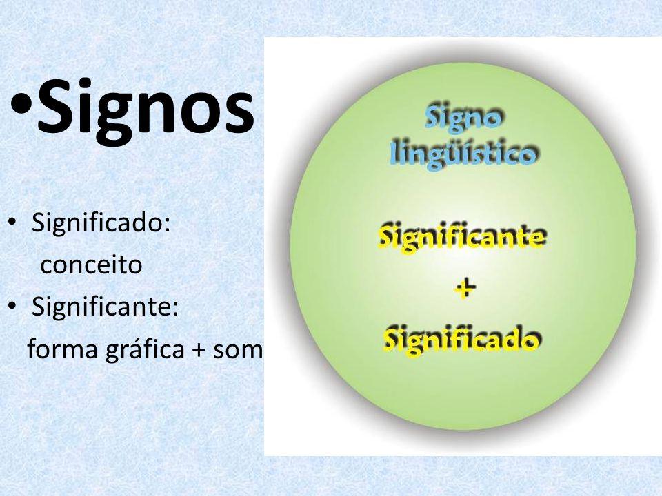 Signos Significado: conceito Significante: forma gráfica + som