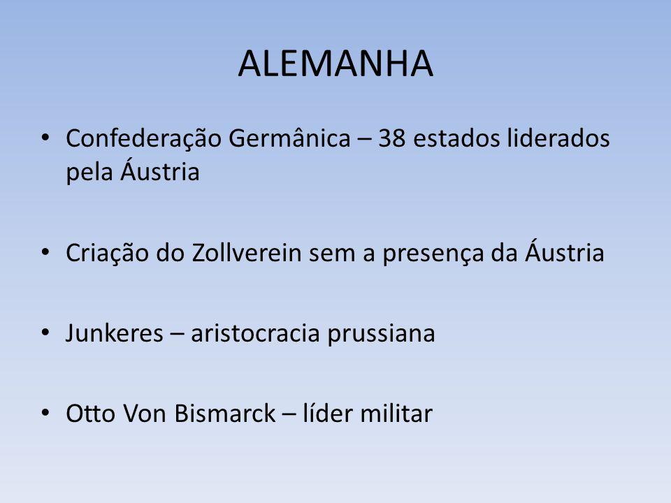 ALEMANHA Confederação Germânica – 38 estados liderados pela Áustria