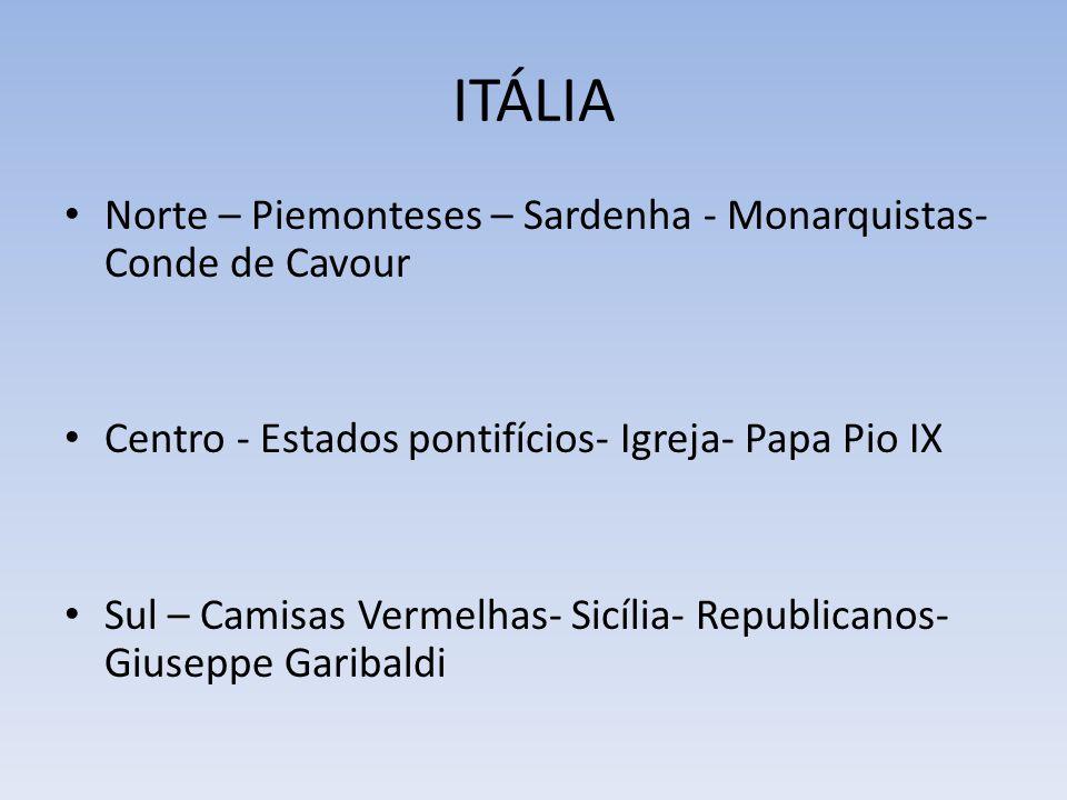 ITÁLIA Norte – Piemonteses – Sardenha - Monarquistas- Conde de Cavour