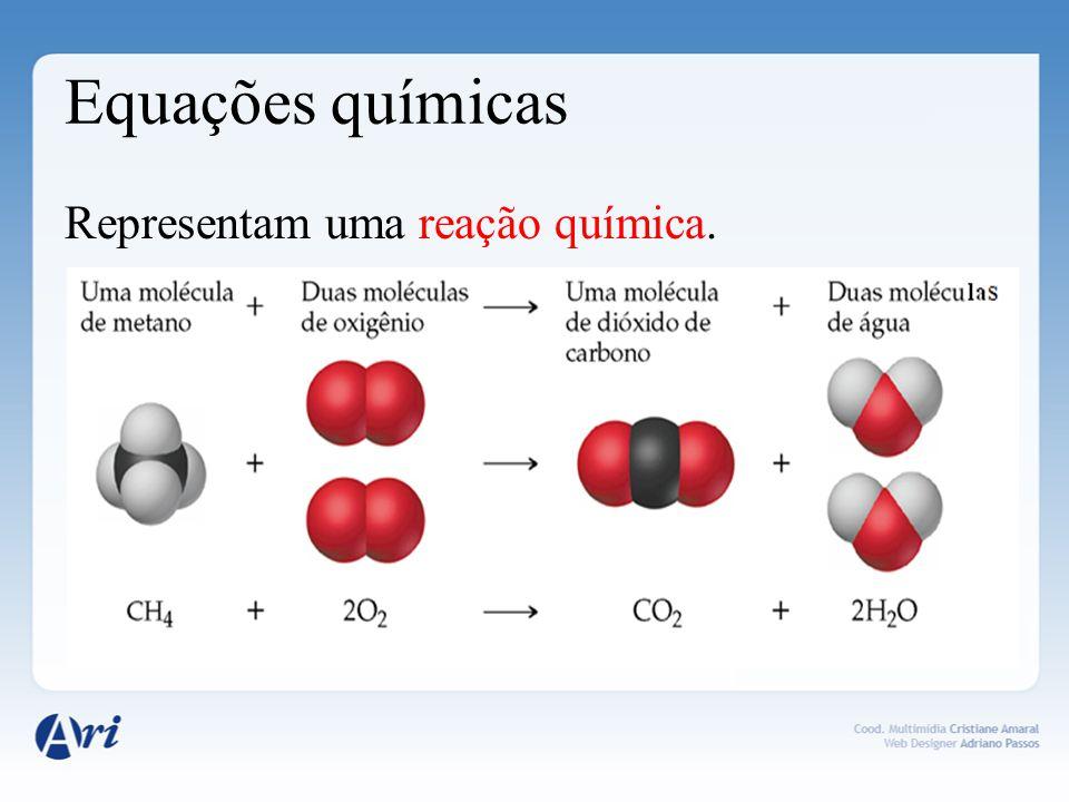 Equações químicas Representam uma reação química.