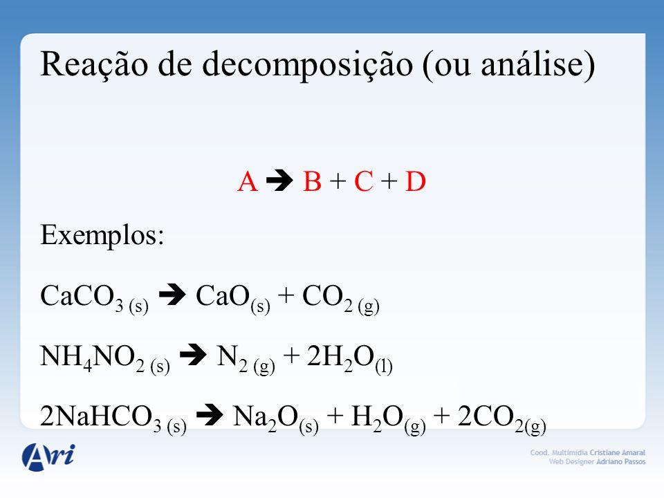 Reação de decomposição (ou análise)