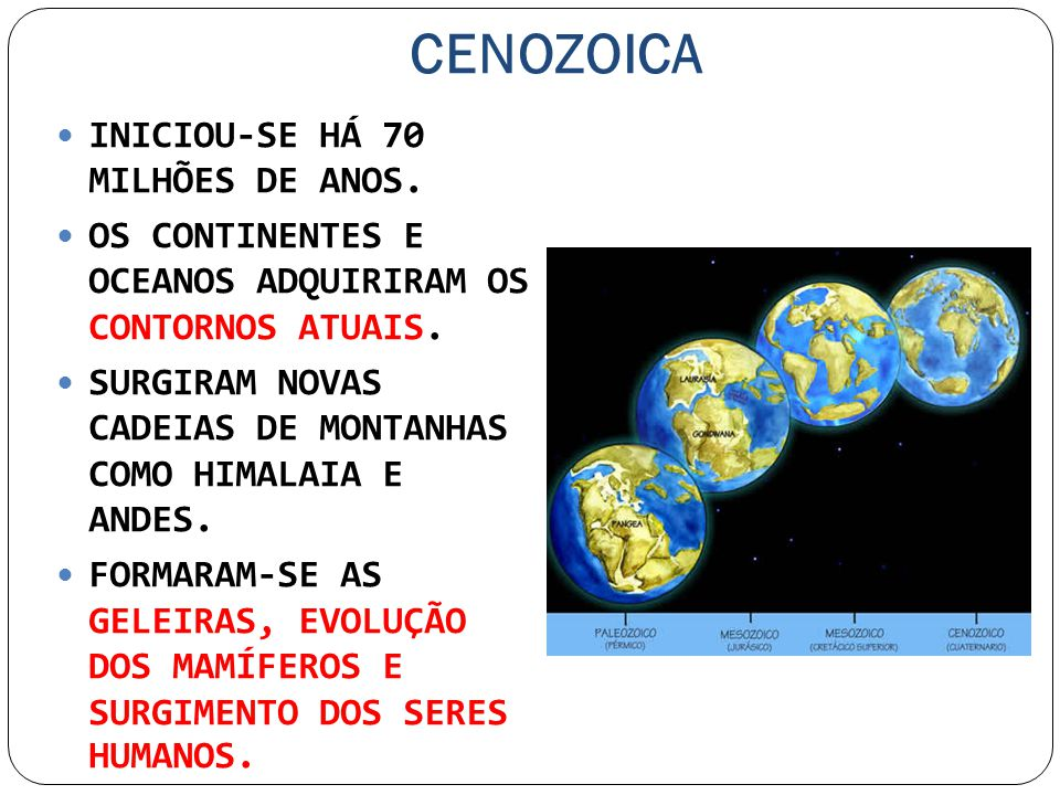 CENOZOICA INICIOU-SE HÁ 70 MILHÕES DE ANOS.