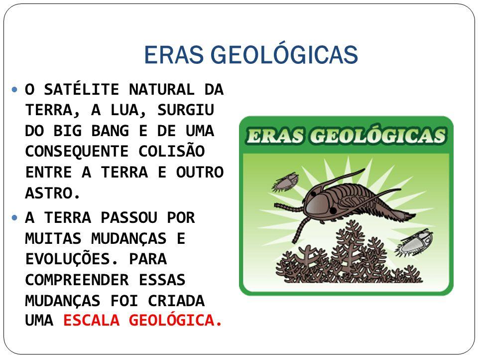 ERAS GEOLÓGICAS O SATÉLITE NATURAL DA TERRA, A LUA, SURGIU DO BIG BANG E DE UMA CONSEQUENTE COLISÃO ENTRE A TERRA E OUTRO ASTRO.