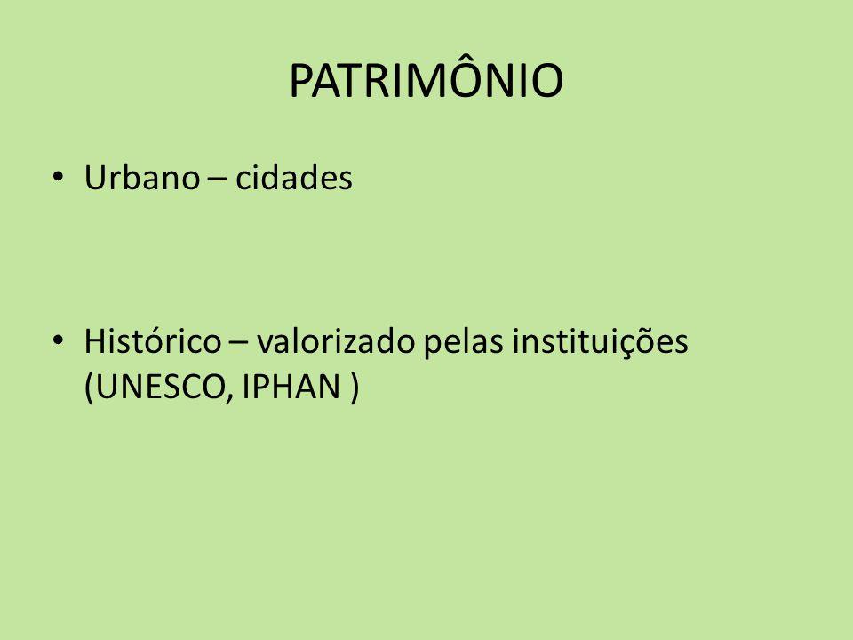 PATRIMÔNIO Urbano – cidades