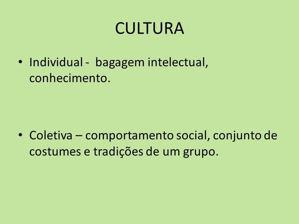 CULTURA Individual - bagagem intelectual, conhecimento.
