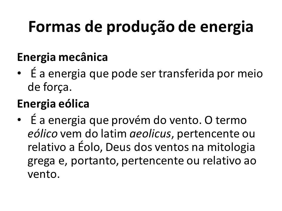 Formas de produção de energia