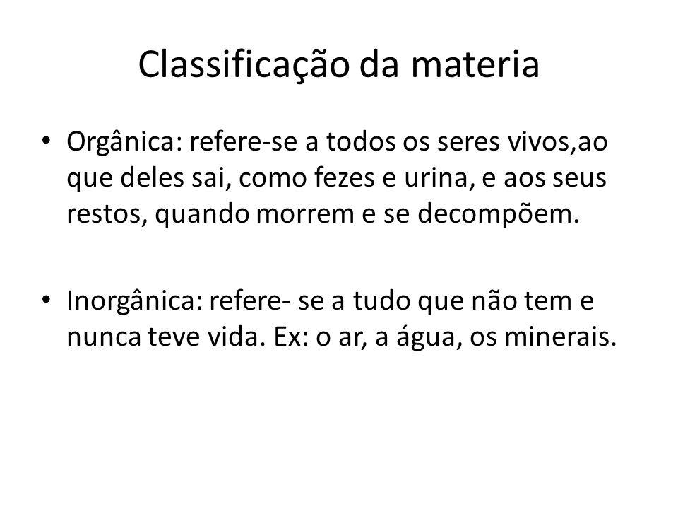 Classificação da materia