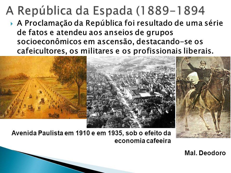 A Proclamação da República foi resultado de uma série de fatos e atendeu aos anseios de grupos socioeconômicos em ascensão, destacando-se os cafeicultores, os militares e os profissionais liberais.