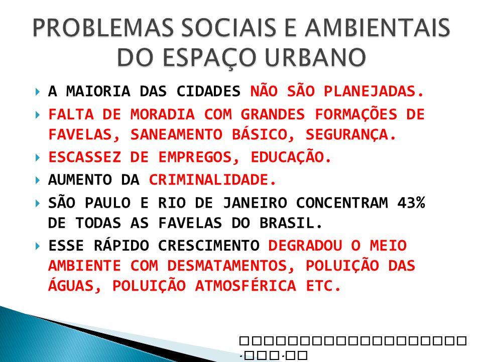 PROBLEMAS SOCIAIS E AMBIENTAIS DO ESPAÇO URBANO