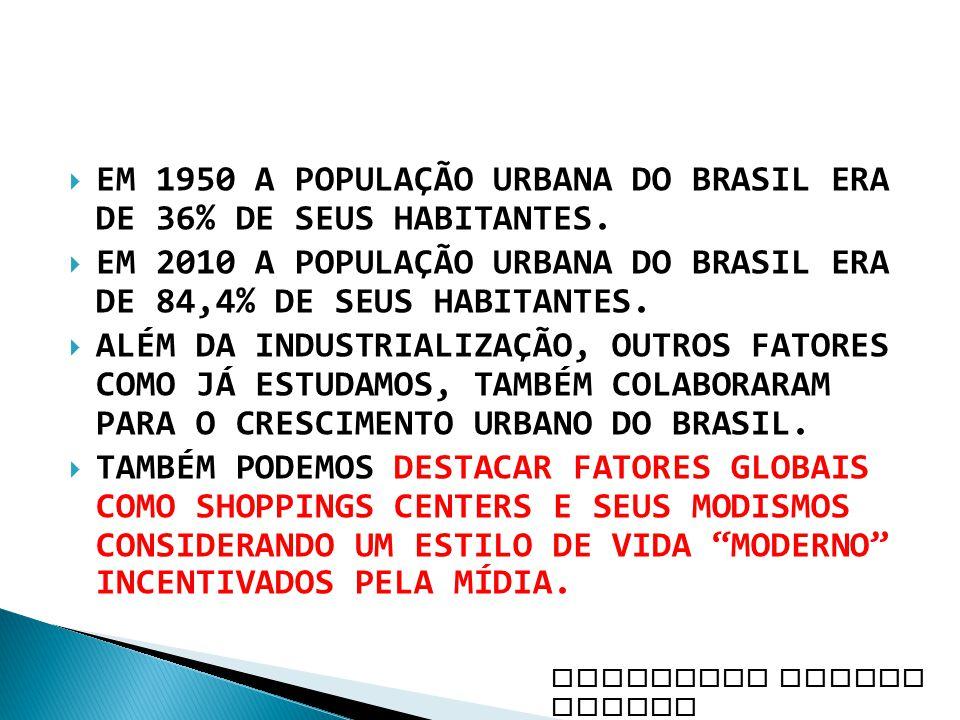 EM 1950 A POPULAÇÃO URBANA DO BRASIL ERA DE 36% DE SEUS HABITANTES.