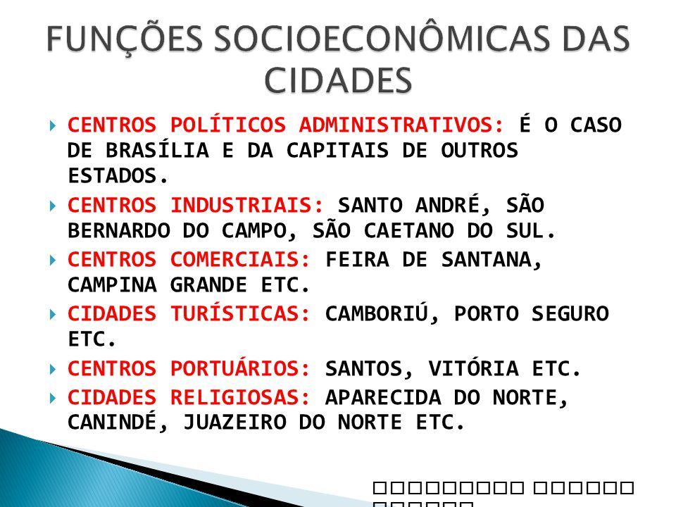 FUNÇÕES SOCIOECONÔMICAS DAS CIDADES