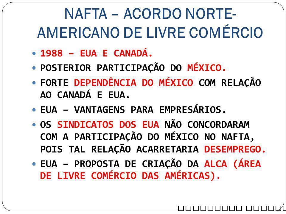 NAFTA – ACORDO NORTE-AMERICANO DE LIVRE COMÉRCIO