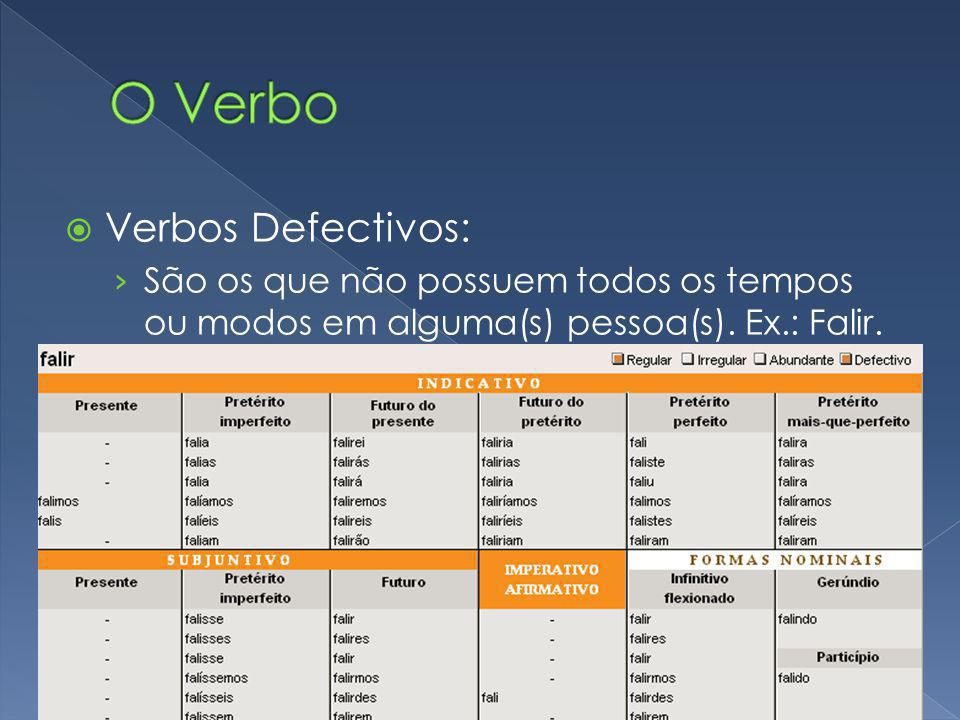 O Verbo Verbos Defectivos:
