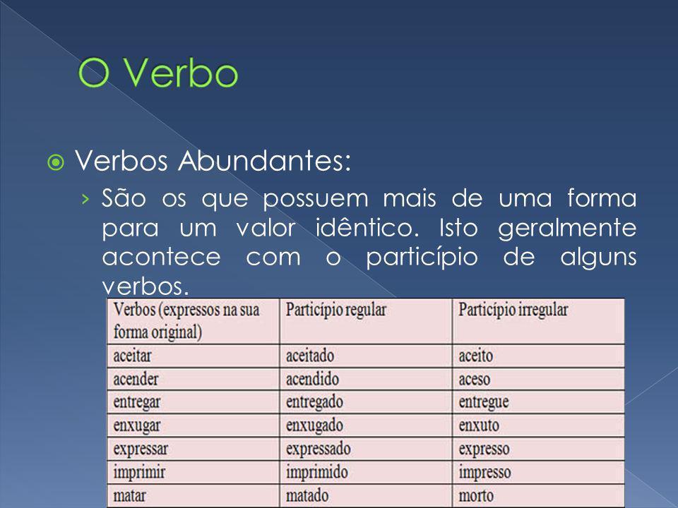 O Verbo Verbos Abundantes: