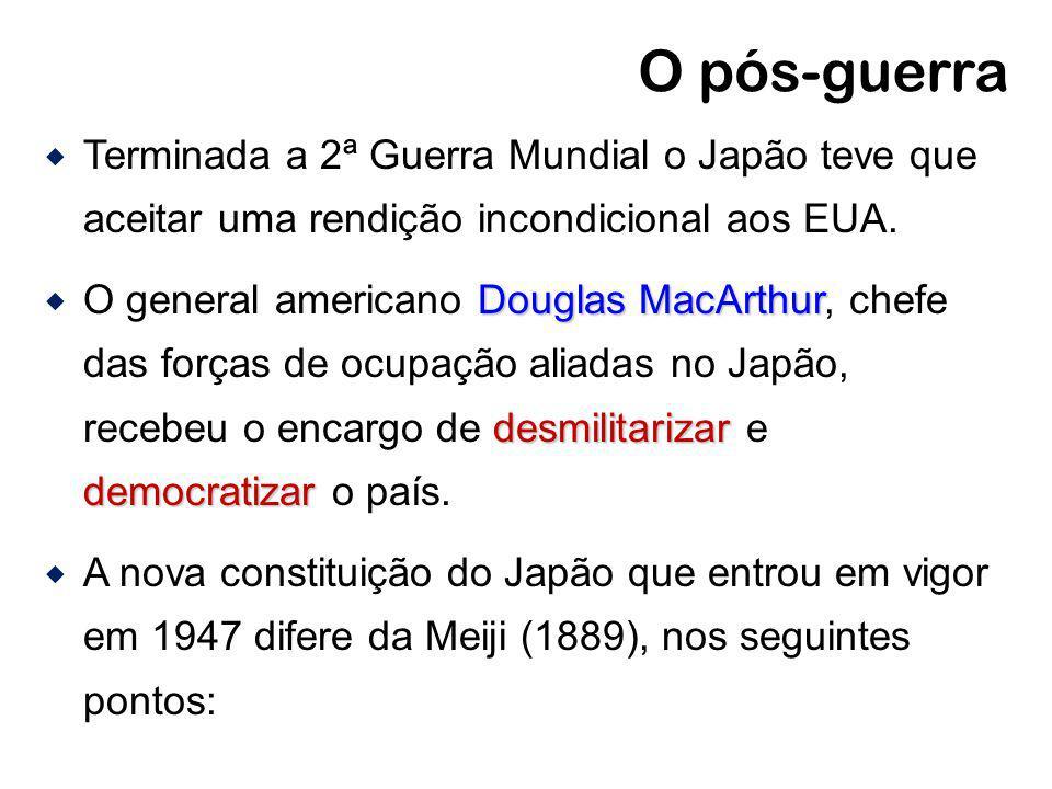 O pós-guerra Terminada a 2ª Guerra Mundial o Japão teve que aceitar uma rendição incondicional aos EUA.