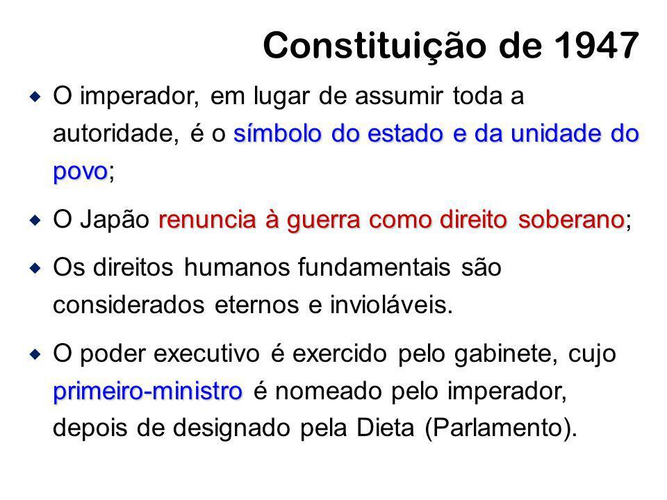 Constituição de 1947 O imperador, em lugar de assumir toda a autoridade, é o símbolo do estado e da unidade do povo;
