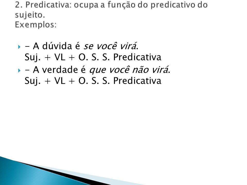 2. Predicativa: ocupa a função do predicativo do sujeito. Exemplos: