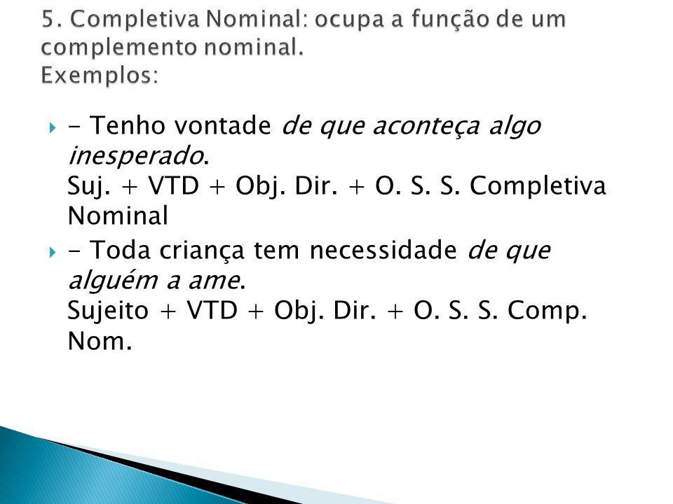 5. Completiva Nominal: ocupa a função de um complemento nominal