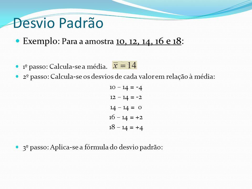 Desvio Padrão Exemplo: Para a amostra 10, 12, 14, 16 e 18: