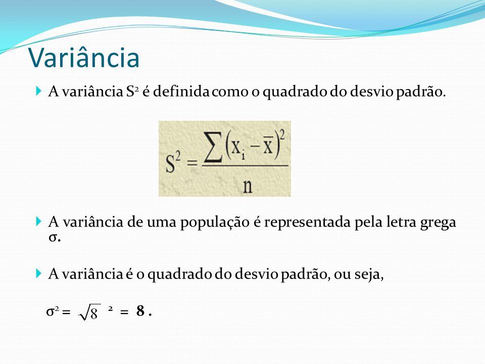 Variância A variância S2 é definida como o quadrado do desvio padrão.