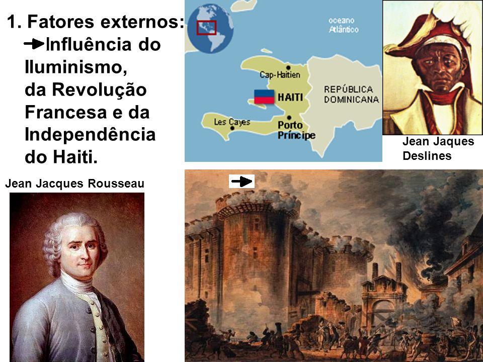1. Fatores externos: Influência do Iluminismo, da Revolução Francesa e da Independência do Haiti.