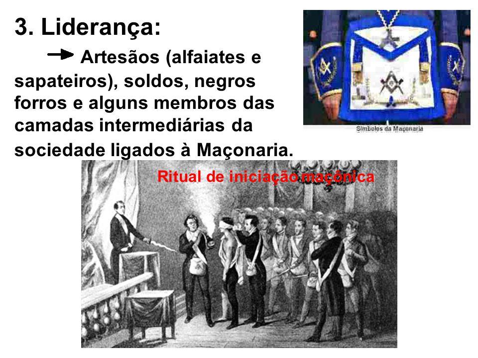 3. Liderança: Artesãos (alfaiates e sapateiros), soldos, negros forros e alguns membros das camadas intermediárias da sociedade ligados à Maçonaria.