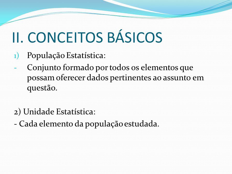 II. CONCEITOS BÁSICOS População Estatística: