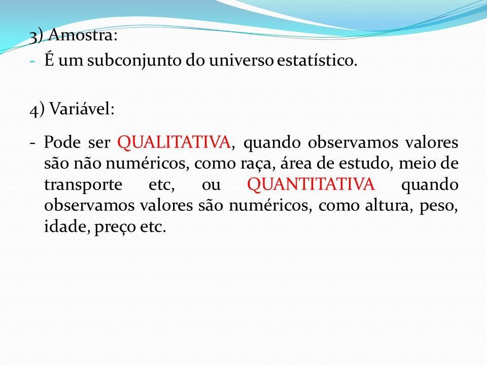 3) Amostra: É um subconjunto do universo estatístico. 4) Variável: