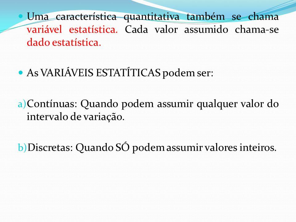 Uma característica quantitativa também se chama variável estatística