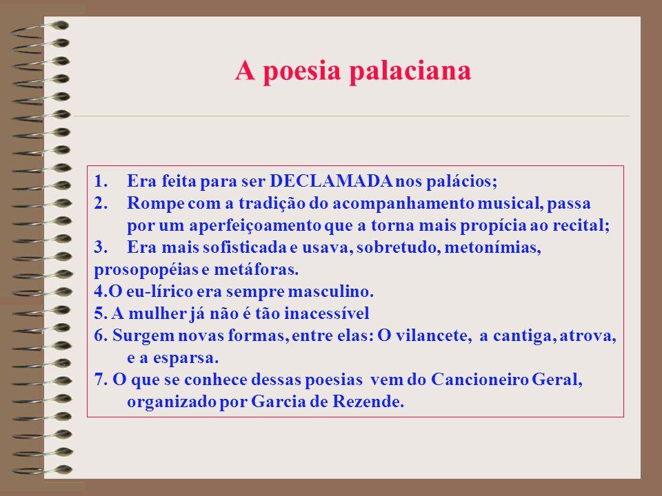A poesia palaciana Era feita para ser DECLAMADA nos palácios;