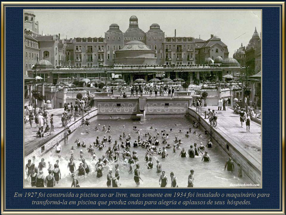 In 1927 the outdoor wave pool was built by Artúr Sebestyén and in the same year 60 new rooms were added to the hotel. The wave pool produces waves to the cheers of the bath-goers with the original machinery to this very day. The Jacuzzi pool was opened in 1934.