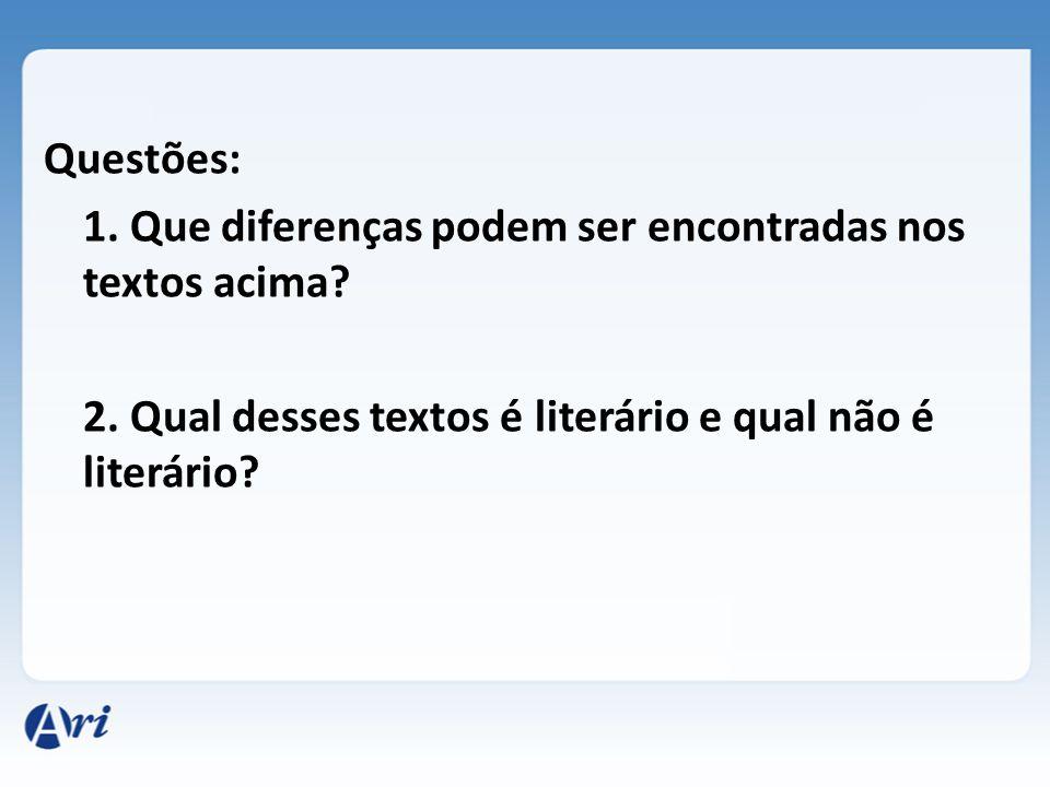 Questões: 1. Que diferenças podem ser encontradas nos textos acima. 2