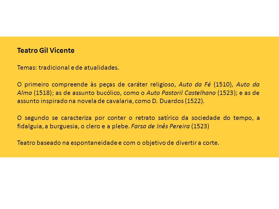 Teatro Gil Vicente Temas: tradicional e de atualidades.