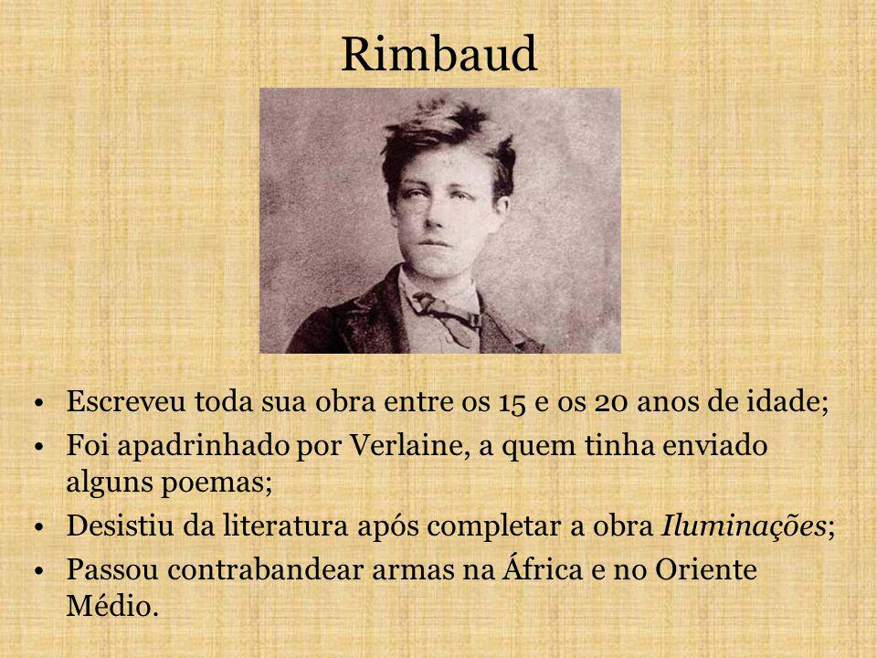 Rimbaud Escreveu toda sua obra entre os 15 e os 20 anos de idade;