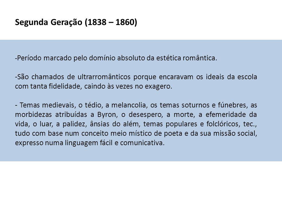Segunda Geração (1838 – 1860) -Período marcado pelo domínio absoluto da estética romântica.