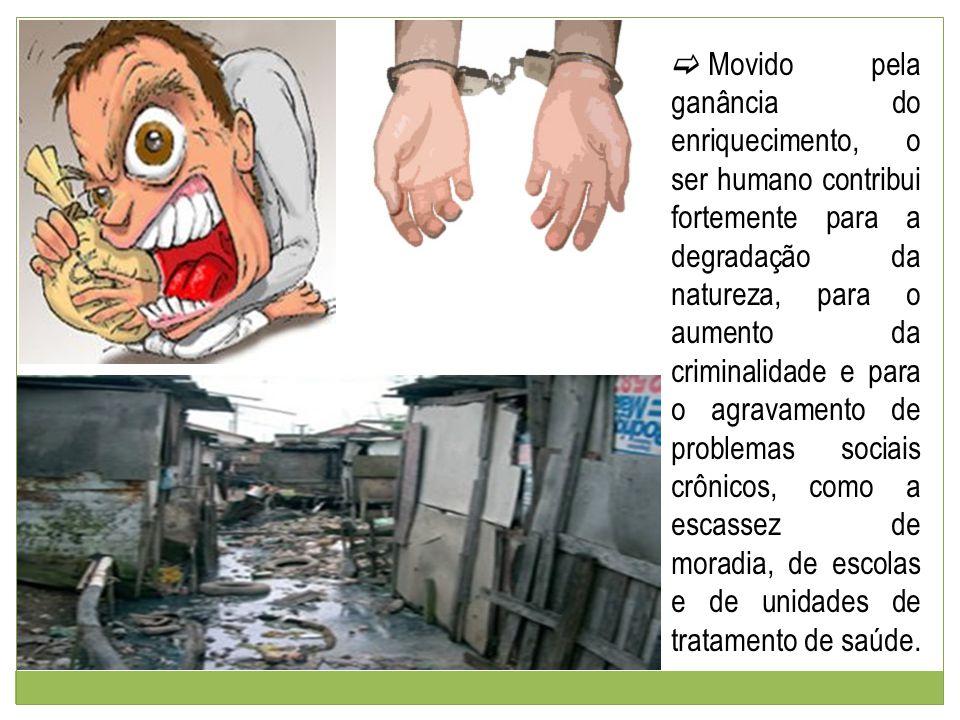 Movido pela ganância do enriquecimento, o ser humano contribui fortemente para a degradação da natureza, para o aumento da criminalidade e para o agravamento de problemas sociais crônicos, como a escassez de moradia, de escolas e de unidades de tratamento de saúde.