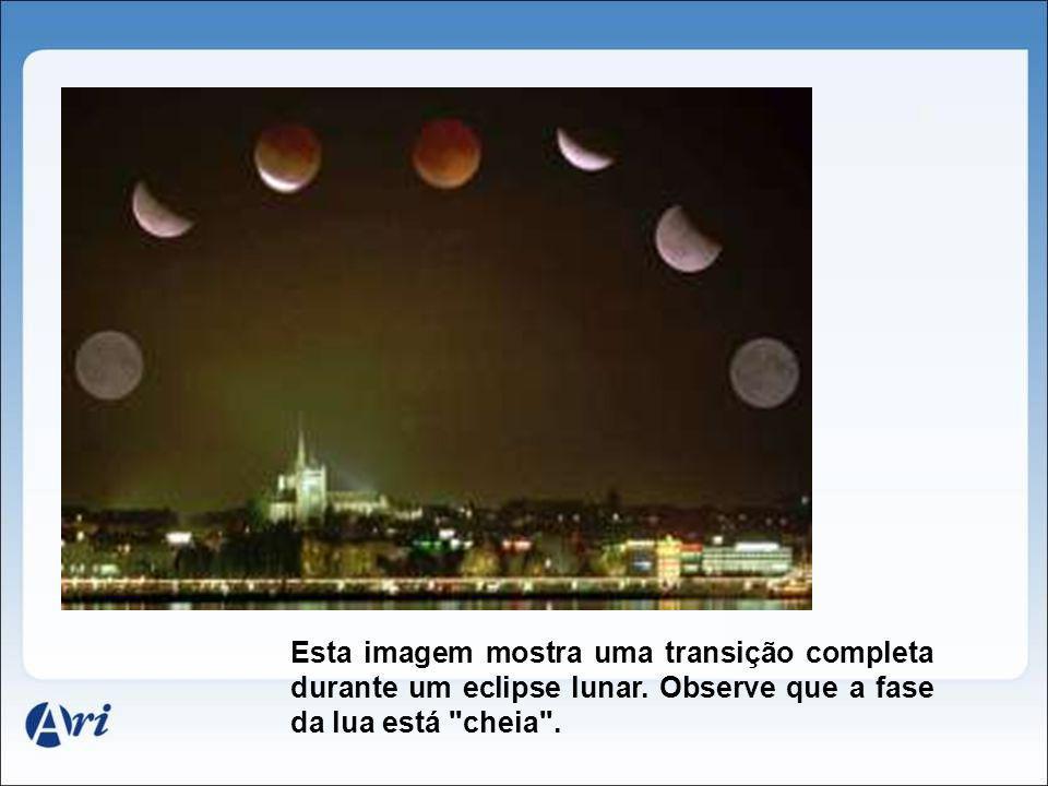 Esta imagem mostra uma transição completa durante um eclipse lunar