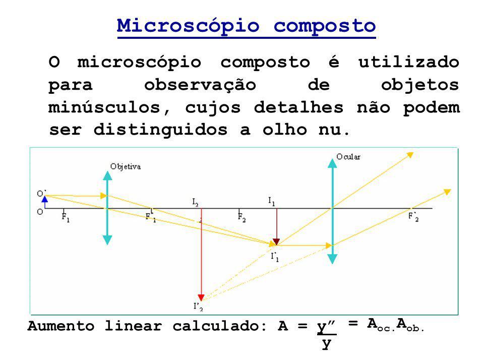 Microscópio composto O microscópio composto é utilizado para observação de objetos minúsculos, cujos detalhes não podem ser distinguidos a olho nu.