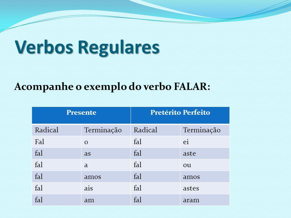Verbos Regulares Acompanhe o exemplo do verbo FALAR: Presente