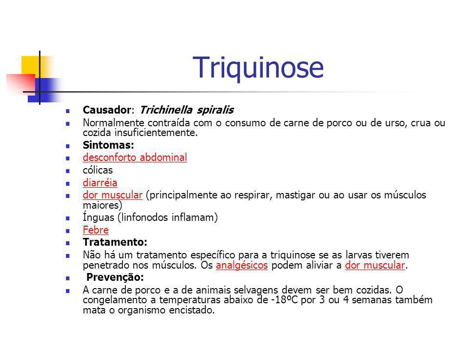 Triquinose Causador: Trichinella spiralis