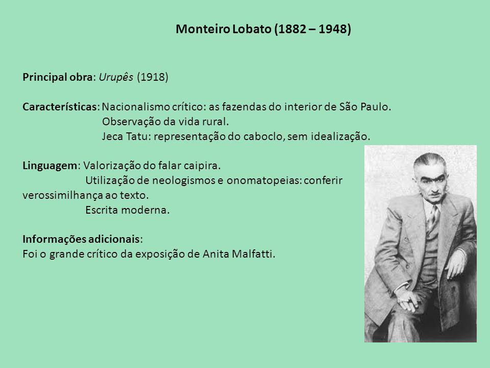 Monteiro Lobato (1882 – 1948) Principal obra: Urupês (1918)