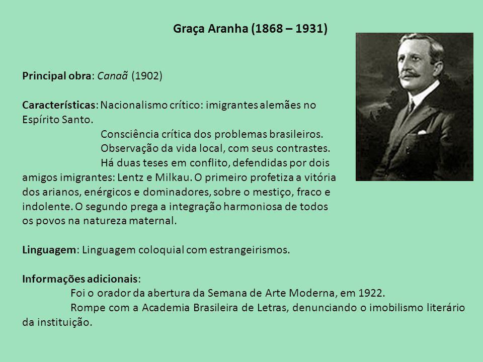 Graça Aranha (1868 – 1931) Principal obra: Canaã (1902)